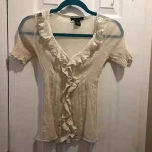 Arden B lace button up sheer peasant blouse